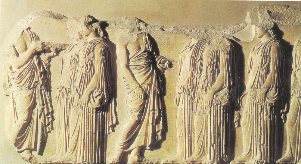 Bajo relieve del friso interior que recorre la parte superior del muro (cella) del templo del Partenón en más de 159 metros, realizado por Fidias, para representar el desfile de las panatene