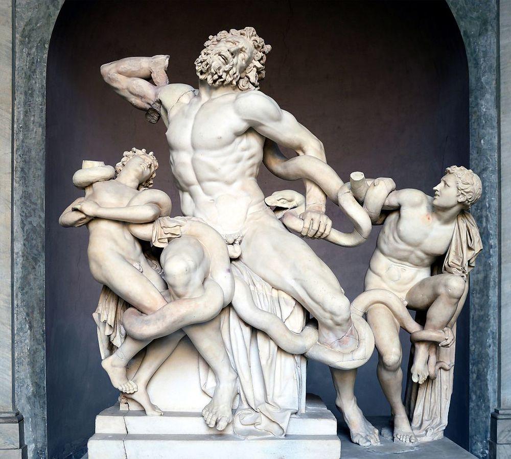 aocoonte y sus hijos es un grupo escultórico griego. Museo Pío-Clementino, Ciudad del Vaticano.