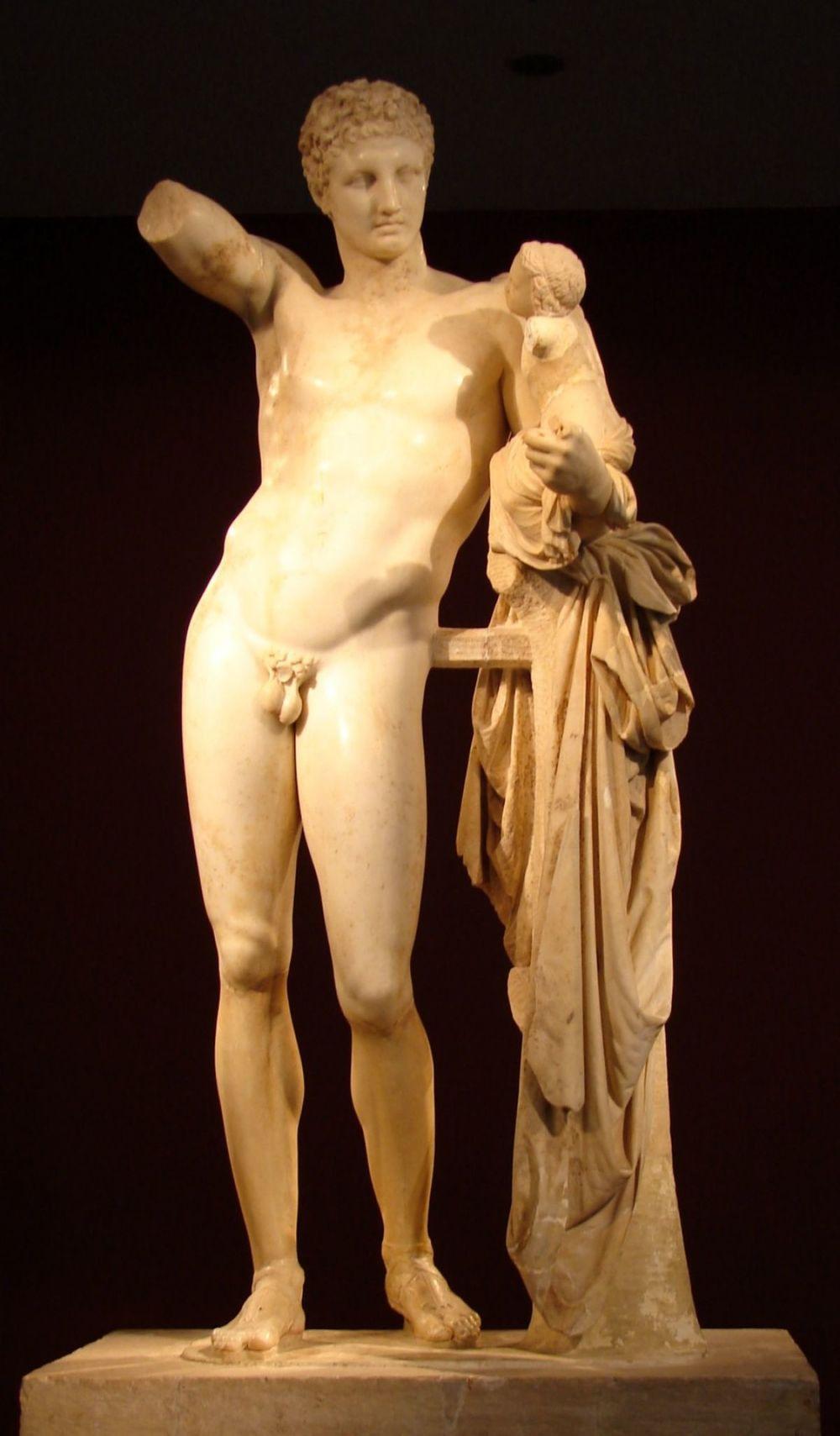 Hermes con el niño Dioniso es una escultura griega de mármol con una altura de 213 centímetros que se encuentra en el Museo Arqueológico de Olimpia.
