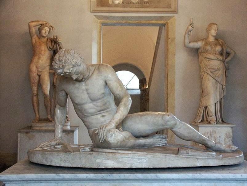 ElGálata moribundo, una copia romana en mármol de una obrahelenísticadelsiglo IIIaC.Museos Capitolinos,Roma.