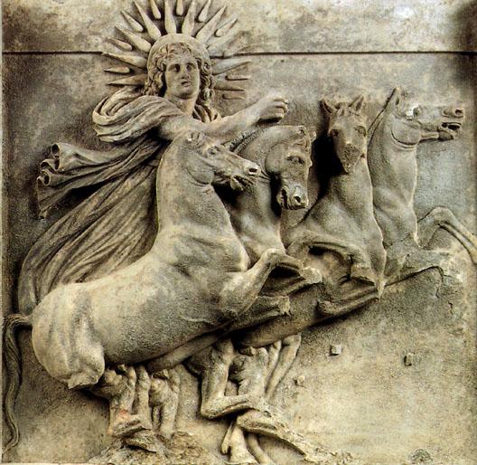 Relieve troyano que representa a Helios en un triglifo con metopa del Templo de Atenea. Se conserva hoy en el Museo de Pérgamo (Berlín).