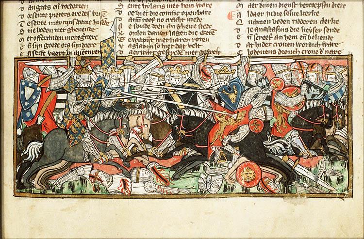 Batalla de Vouillé (507), entre francos y visigodos, representada en un manuscrito del siglo XIV.