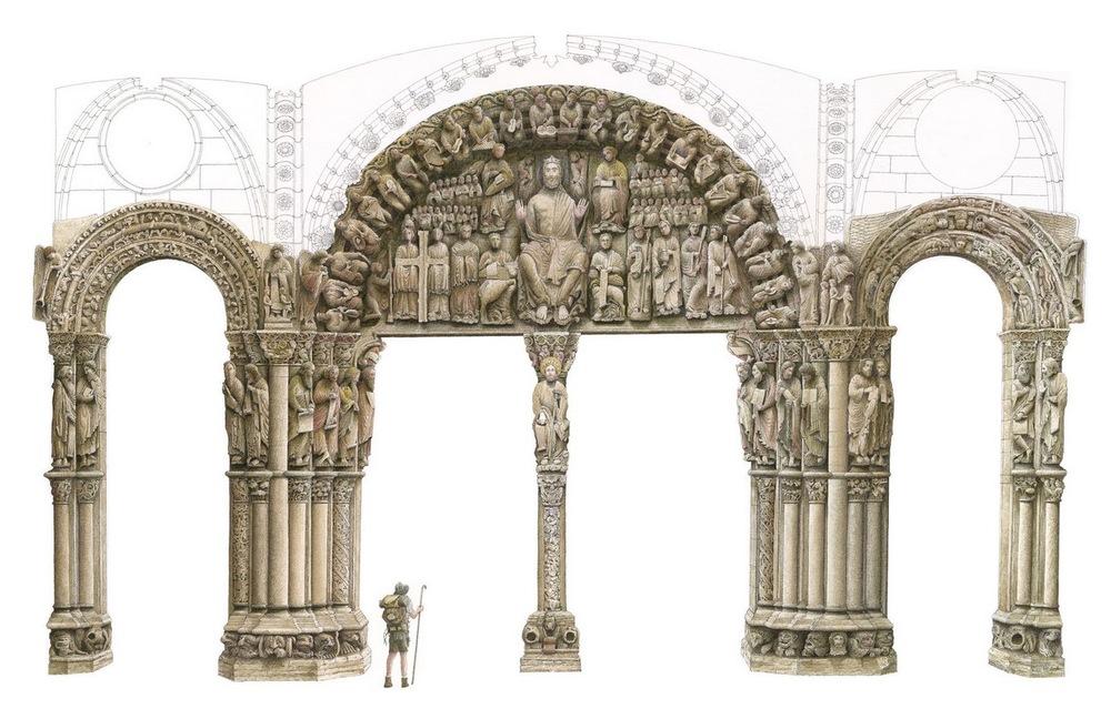Pórtico de la Gloria, Catedral de Santiago de Compostela, siglo XII.Maestro Mateo 1168-1188