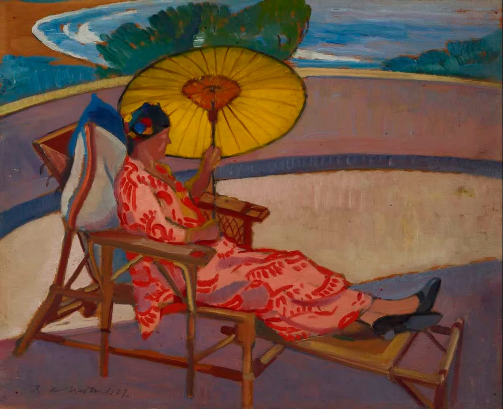Woman with parasol at Palm Beach