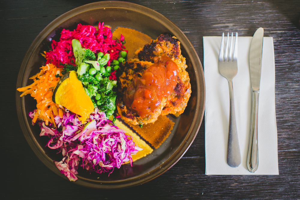 Sweet Potato and Lentil Patties with a side of rainbow salad