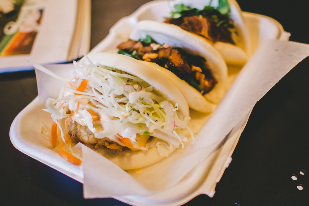 Baos: Korean style fried chicken (KFC), Grilled eel, Master stock pork belly - $3.50 each