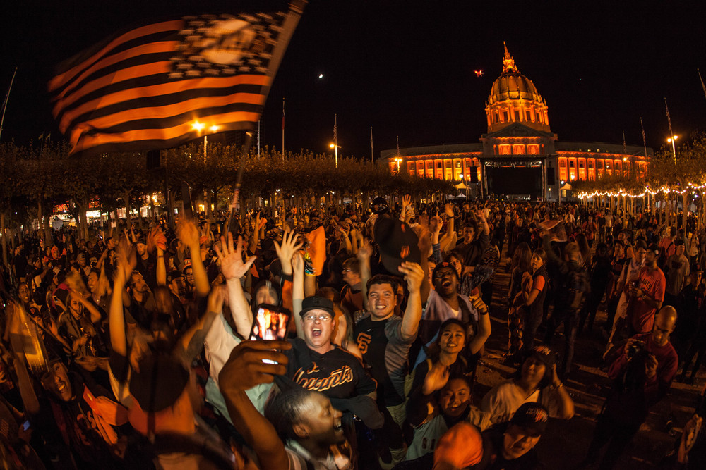 Giants fans celebrate in front of City Hall after winning the World Series last night. Photo: Anthony Quintano, via Flickr and Creative Commons license
