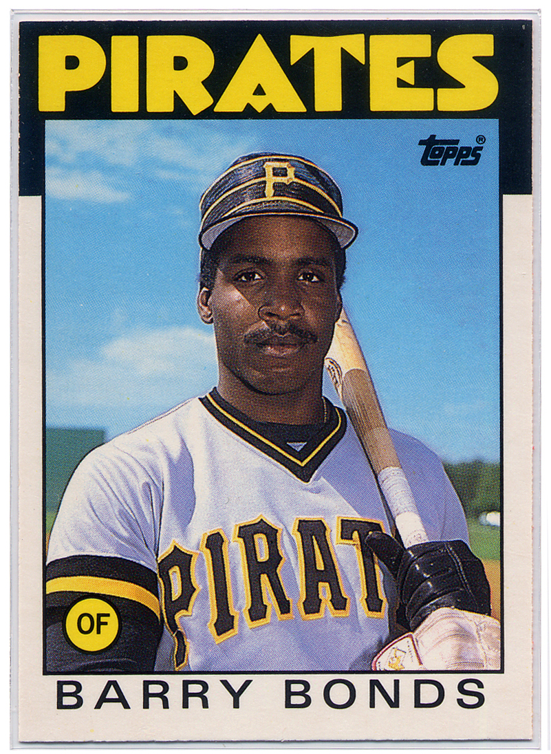 Barry Bonds 1986 Rookie Card with the Pittsburgh Pirates Photo: Edited from NatickPS.org photo with Creative Commons license