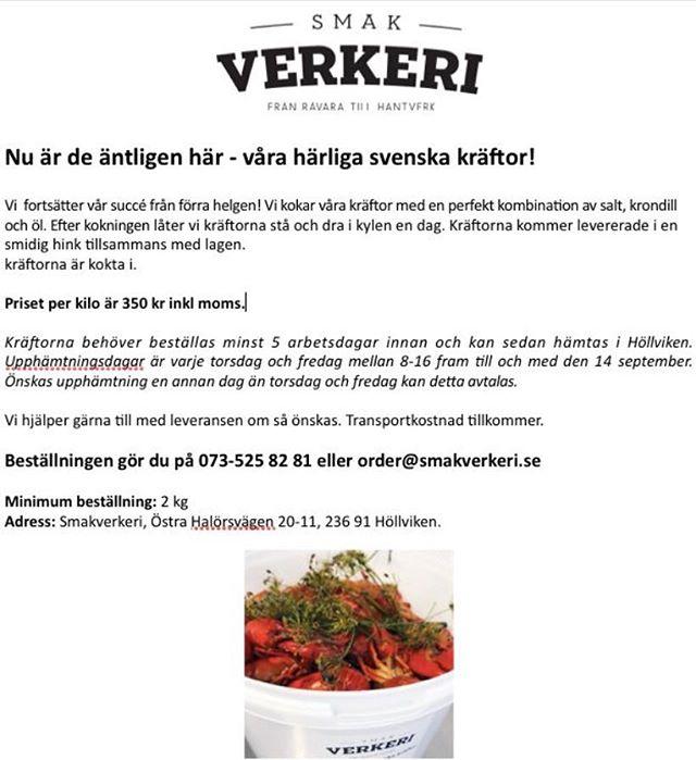 Nu kör vi näst sista koket för säsongen. Beställ gärna idag eller senast imorgon för upphämtning i Höllviken på fredag. 350 kr kg.