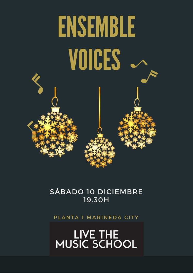 "El Coro de música moderna  dirigida por la profesora, cantante y pianista Yelene Acosta ofrecerá un concierto  el Sábado 10 de Diciembre a las 19.30h en nuestra escuela Live The Music School, planta 1 de Marineda City.   Sonarán temas tan populares como ""Let it be"" The Beattles o ""Time after time"" de Cidy Lauper, etc..   LA ENTRADA ES GRATUITA Y PARA TODOS LOS PÚBLICOS, OS ESPERAMOS!!"