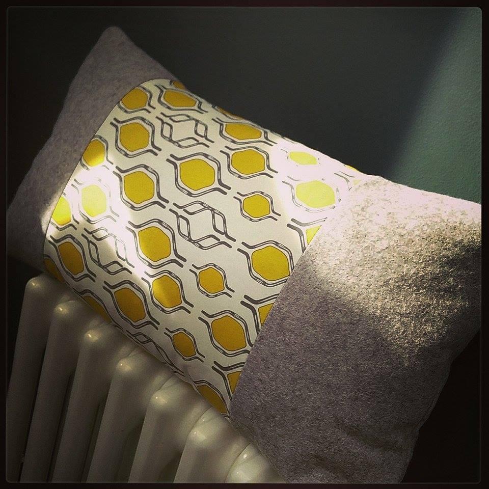 Felt & mustard handlebar print cushion