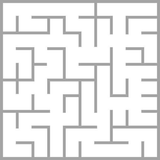 The solution to the maze task. You start in the upper left corner and finish in the lower right corner. Up in the picture of the maze is north in the real world.