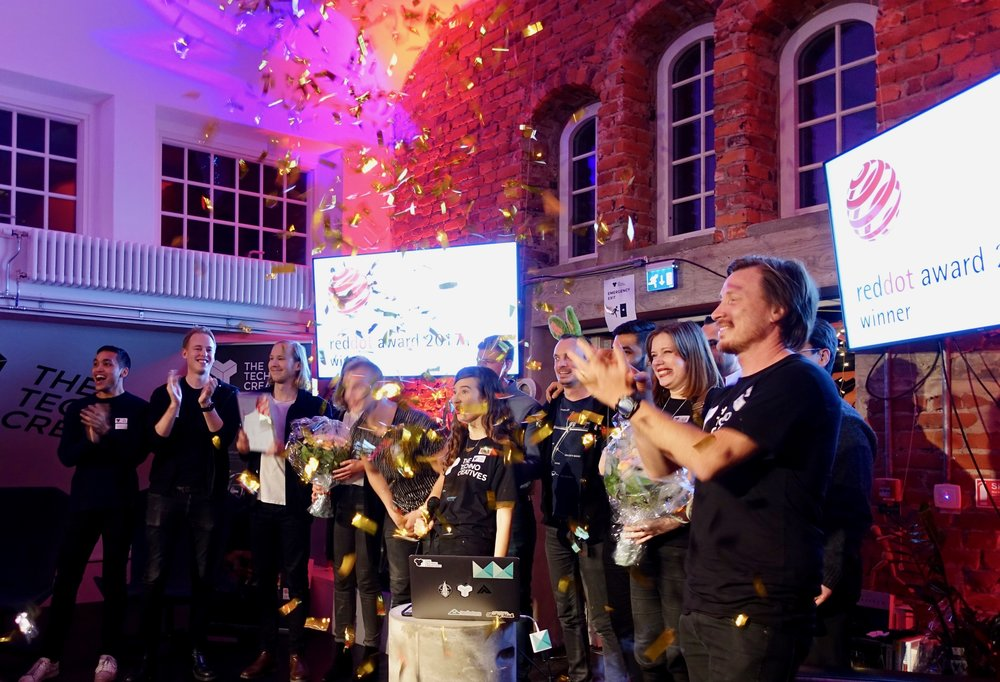 Confetti for all! Celebrating our two Red dot design awards on stage together with our clients Autoliv and Liseberg.