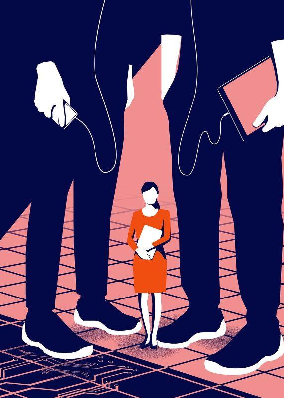 Im Chauvi Valley.  Ausgerechnet die modernste Branche der Welt, die Tech-Industrie, behandelt Frauen so schlecht wie kaum eine andere sonst. Wie ist das möglich.   S   onntagsZeitung, 30. 7. 2017     (Grafik: Mario Wagner)