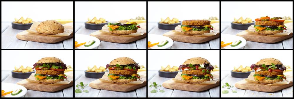 Samenstelling en styling van een broodje met de  VeganChallenge bruine bonenburger