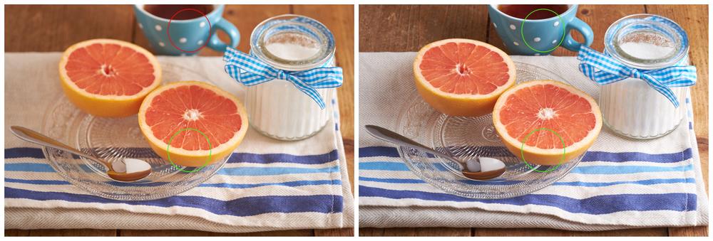 Links:  f2.4 - kleine scherptediepte:de voorste grapefruit is scherp, maar het theekopje niet.  Rechts:  f11 - grote scherptediepte: zowel de grapefruit als het theekopje zijn scherp.