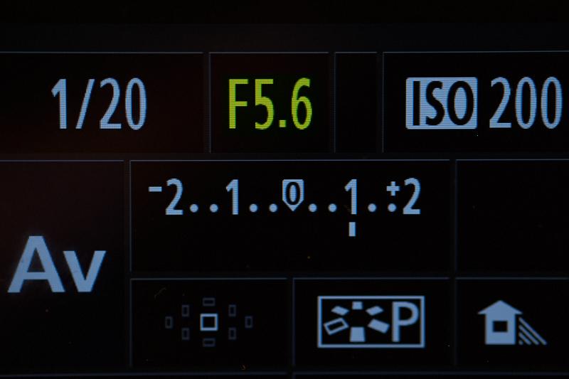 Een voorbeeld van de weergave van het diafragma op het scherm van een camera.