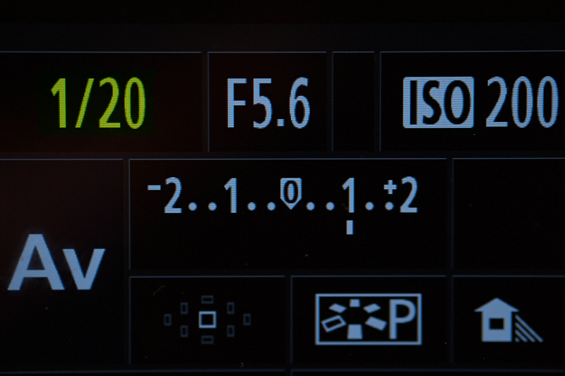 Een voorbeeld van de weergave van de sluitertijd op het scherm van een camera.
