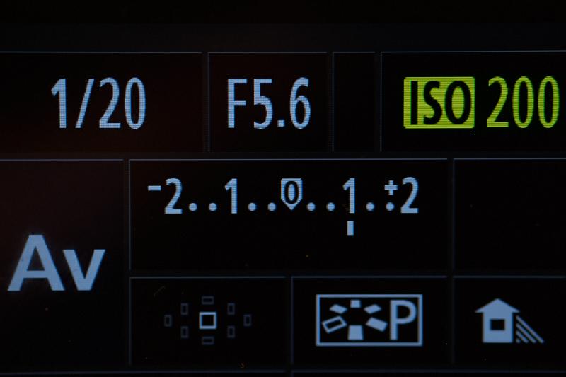 Een voorbeeld van de weergave van ISO op het scherm van een camera.