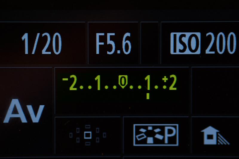 Een voorbeeld van de weergave van Ev op het scherm van een camera.