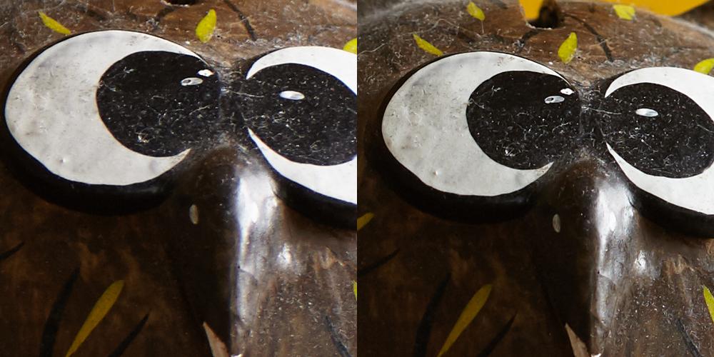 100% uitsnedes.  Links: Tamron SP AF 70-300mm f/4-5.6 Di VC USD op 100mm. Hier zou ik me aan storen.  Rechts: Canon EF 100mm f/2.0 USM. Dit vind ik goede scherpte.