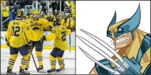 It's just natural that Wolverine would play for the Wolverines at some point. Color schemes already fit.