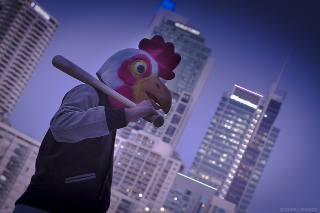 The perks of the chicken mask? People on the street don't ask you for directions.