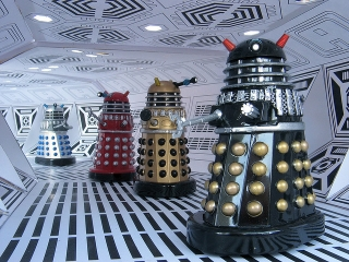 """Want to exterminate all life in the galaxy but black and silver is too boring? Try new Daleks in a variety of color choices!"""