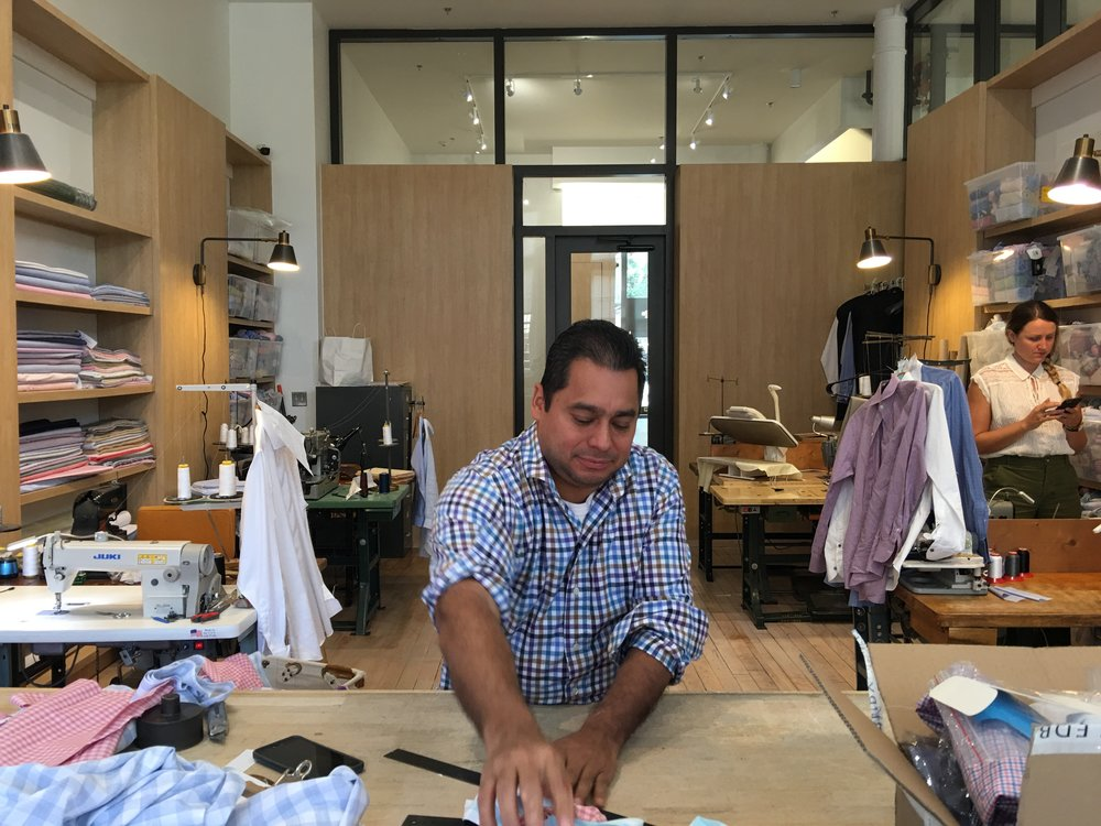 Ledbury custom tailors shirts in-house.