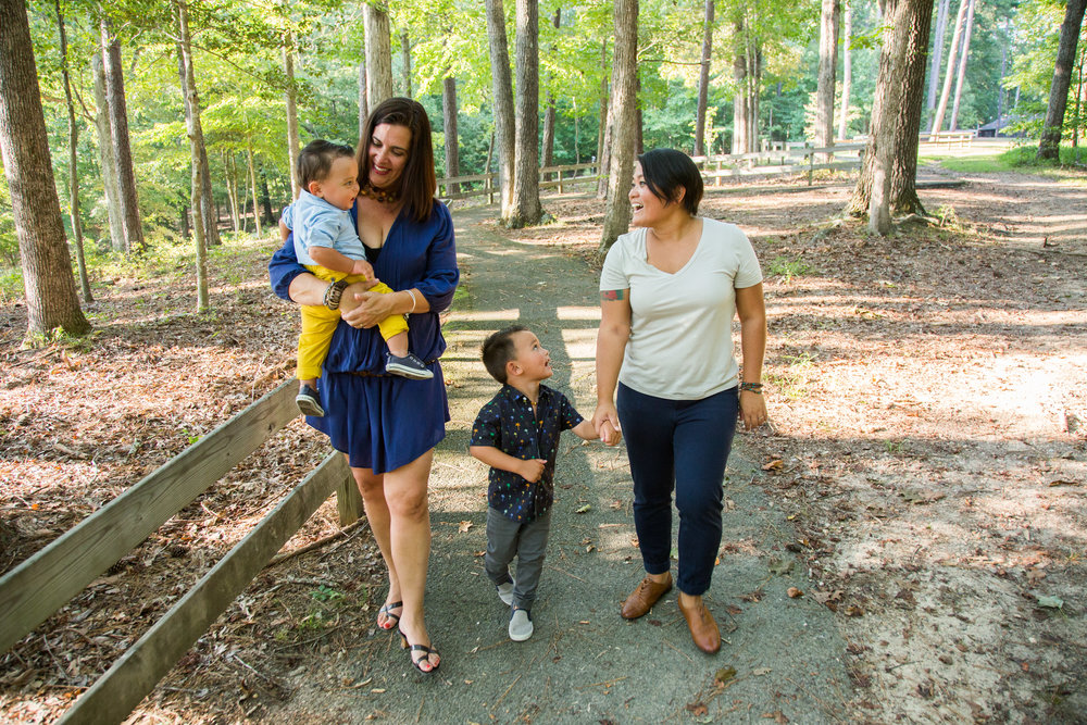 Jennifer Jackson and Rachel Leyco with sons Elijah and Lucas. Photographed at Pocahontas State Park by Michael Simon Photography.