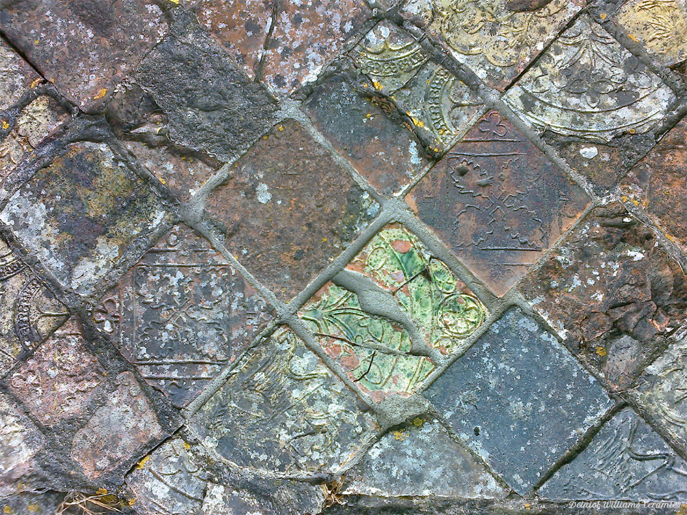 Weathered impressed tiles at Ystrad Fflur (Strata Florida Abbey) near Pontrhydfendigaid in West Wales, early 13C