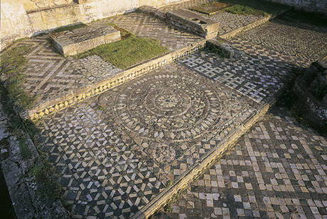 Medieval Mosaic Tiles in situ at Byland Abbey , Ryedale, North Yorkshire , late 12th C. ©English Heritage