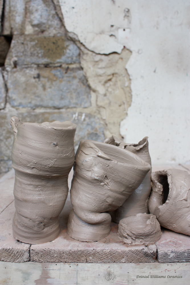 Collapsed thrown vessels with stone inclusions
