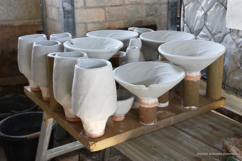 Mocking-up each kiln shelf stack