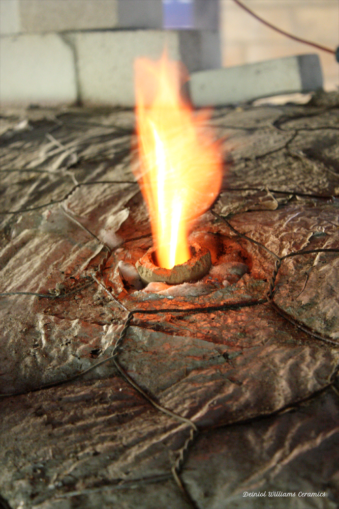 Reduction flames escaping through blowhole