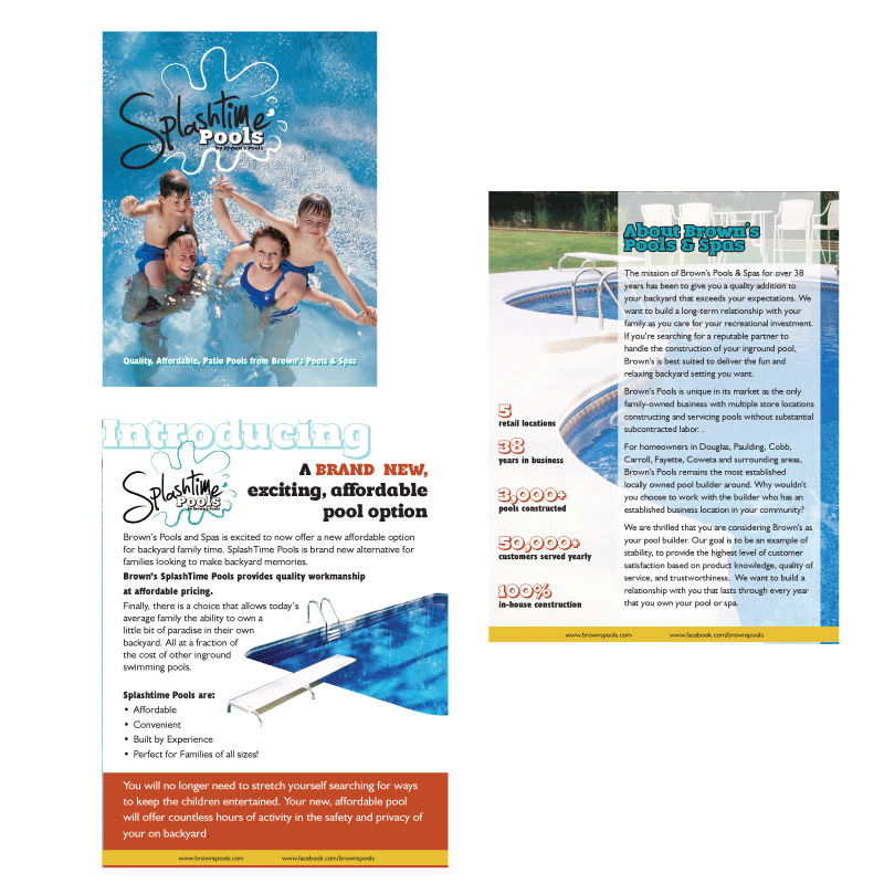 Splashtime Pools promotional and sales brochure.