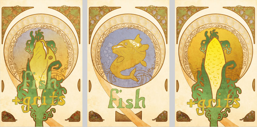 Weird fish and grits poster designs