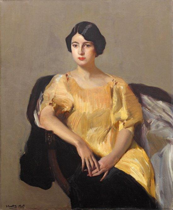 Joaquín Sorolla ·Elena con túnica amarilla,1909 ·Óleo sobre lienzo, 112 x 92 cm ·Colección privada.