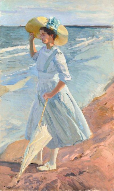 Joaquín Sorolla ·Elena en la playa,1909 ·Óleo sobre lienzo, 200 × 120 cm ·Depósito de colección privada en el Museo Sorolla, Madrid.