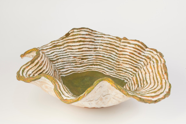Bowl from 'Eggerdon Hill' landscape series  Earthenware with locally sourced slips and glazes. 2014 Similar bowl: £60-80.00