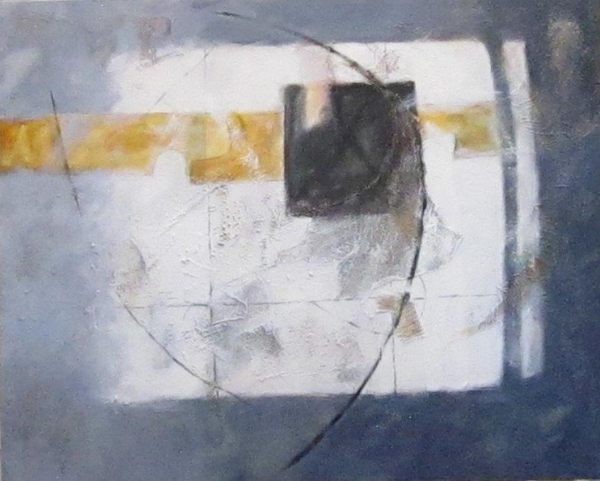 Composition with Black Square - 86x106cm inc frame, mixed media on canvas