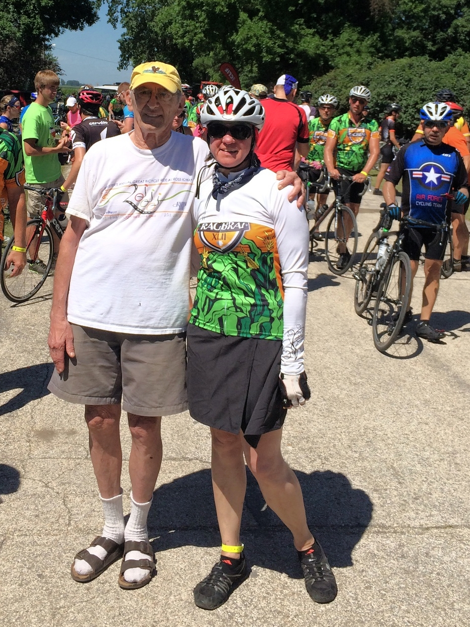 Tracy with John Karras, one of the founders of RAGBRAI.