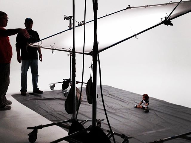 Gail is directing a cinema spot today. Baby stand in doll.
