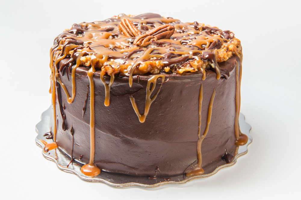 Caramel Shock O' Nut   A pecan, caramel and coconut concoction tops our decadent chocolate cake.