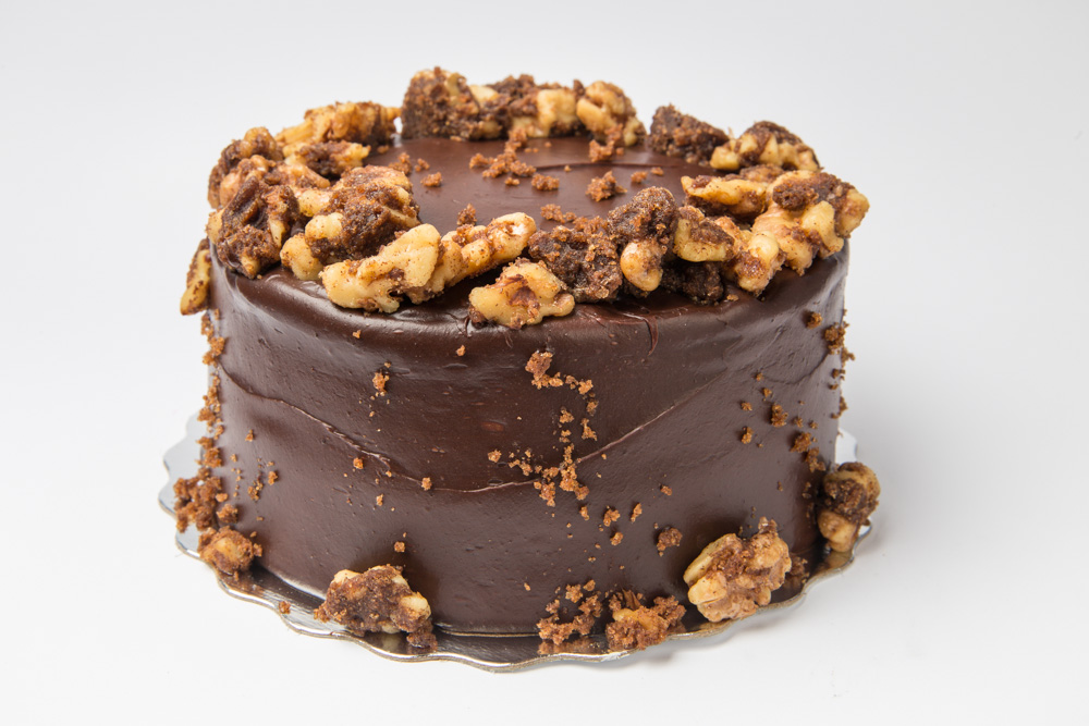 Chocolate Carrot Chocolate icing and moist carrot cake all topped off with cinnamon candied walnuts.