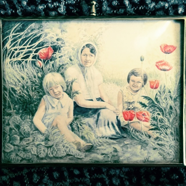 Painting by my mother of my grandmother with my aunt and mother in the garden