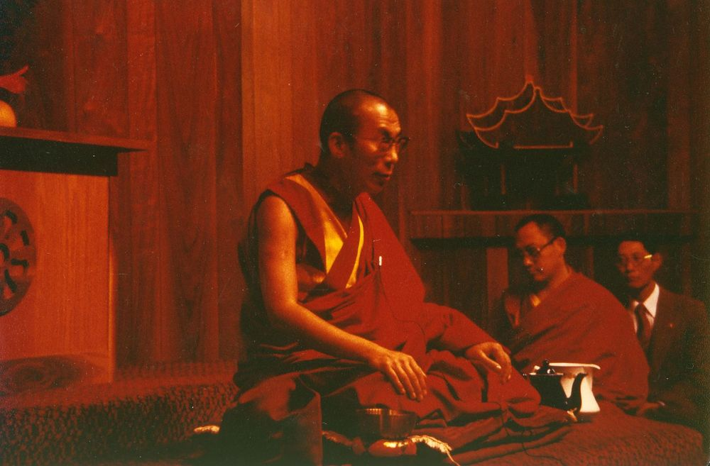 His Holiness the Dalai Lama at the Insight Meditation Society (IMS) in 1979. Photo courtesy of  IMS .