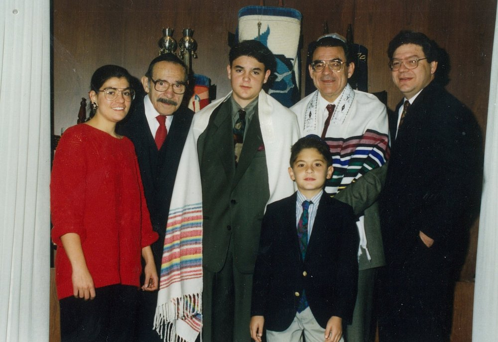 Photo courtesy of the Barbara Gottlieb Collection. From left: Cousin Stacey, Grandpa Murray, Cousin Aaron (on his Bar Mitzvah day), me, Uncle Tony, Dad (John)