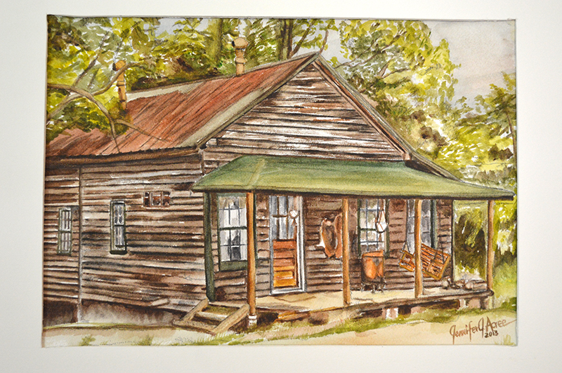 "Hunter's Mill Cabin 1980. 2013  Watercolor. 10"" x 14""  $190.00"