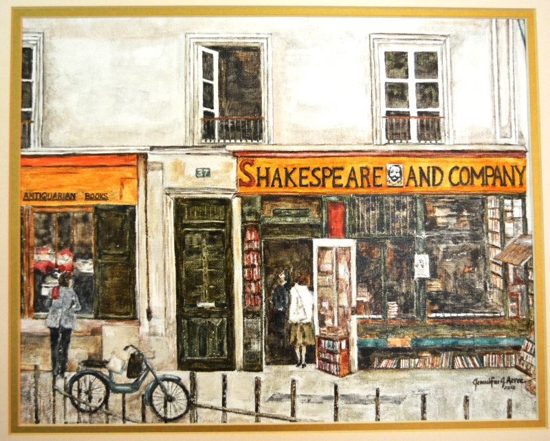 "Shakespeare and Company Bookstore, Paris 1984. 2013  Watercolor. 12"" x 16""  $625.00"